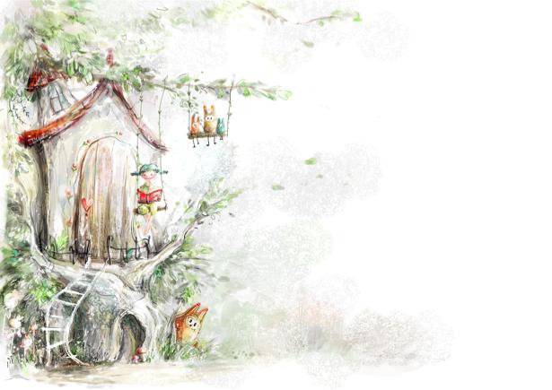 Детские фотообои сказочное дерево (children-0000218)