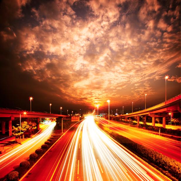 Фотообои Ночной мегаполис, мост (city-0000283)