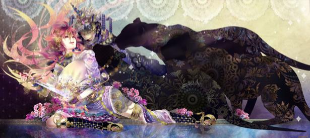 Фотообои девушка с чёрной пантерой (fantasy-0000012)