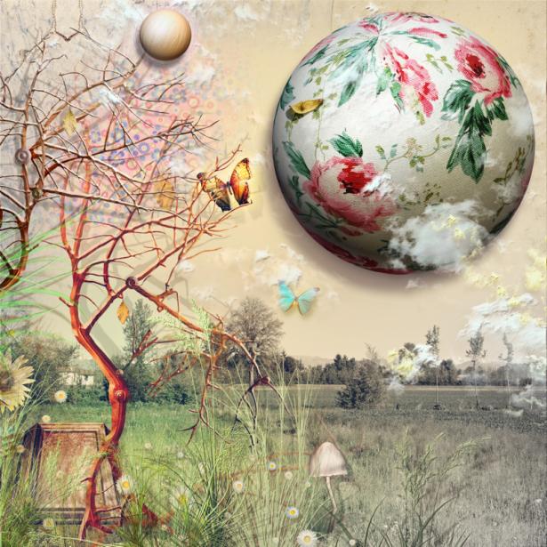 Фотообои шар в цветах коллаж (fantasy-0000166)