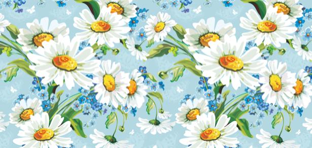 Фото обои на стену Рисованные ромашки (flowers-0000118)
