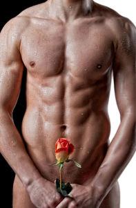 Фотообои обнаженный мужчина с розой (glamour-0000253)