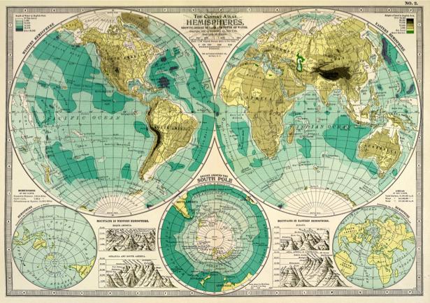 атлас, география, карты, старая карта (map-0000151)