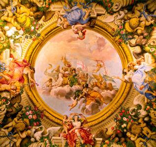 Фото обои на потолок фреска (ov-23)