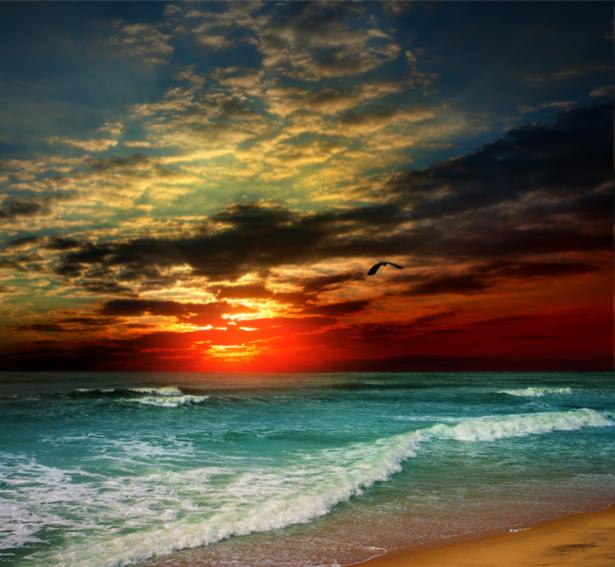 Фотообои море волны красный закат (sea-0000242)