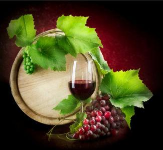 Фотообои сервировка бокал вина бочка с вином (still-life-0021)