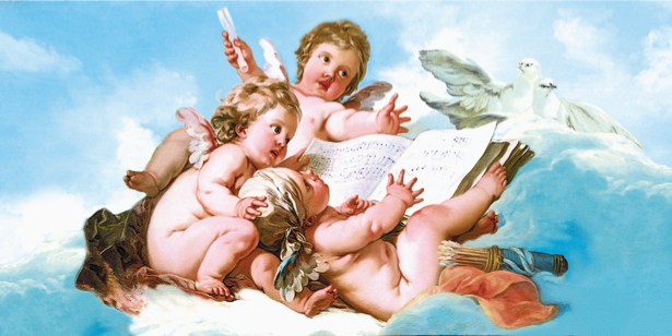 Обои фреска амуры ангел на облаках (angel-00020)