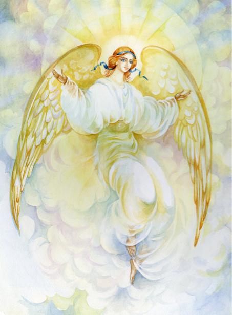 Фреска фото обои Ангел и солнце (angel-00056)