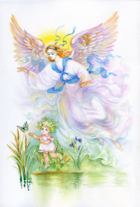 Фото обои Ангел и ребенок (angel-00061)