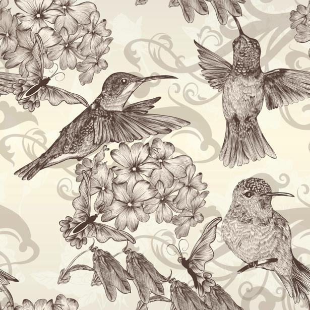 Фотообои Рисованные птицы (animals-0000408)