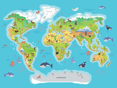 Фотообои Карта мира для детей (child-577)