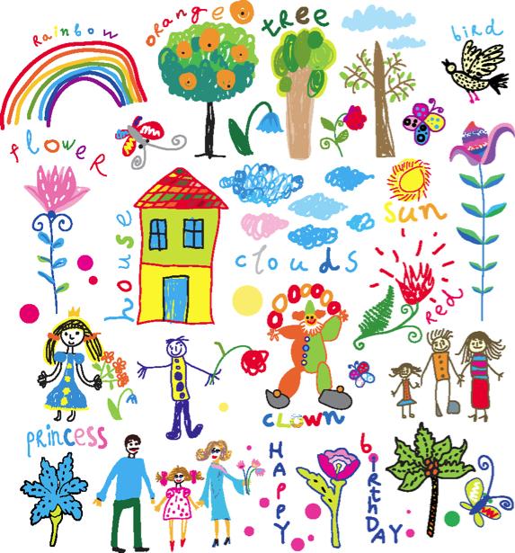 Детские рисунки фотообои (children-0000193)