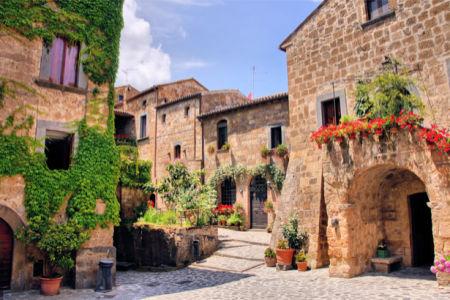 Фотообои итальянские улочки с цветами (city-0001213)