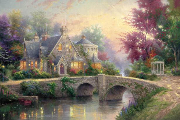 Фотообои домик возле реки (fantasy-0000039)