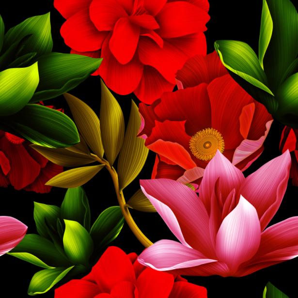 Обои для стен красные цветы (flowers-0000674)