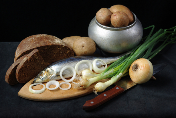 Фотообои кухня натюрморт с селедкой (food-0000175)