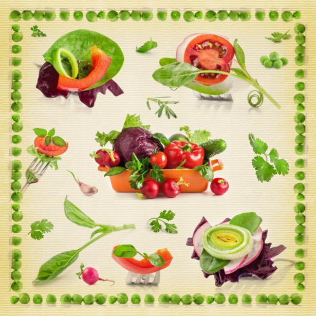 Фотообои в кухню коллаж из овощей (food-0000261)