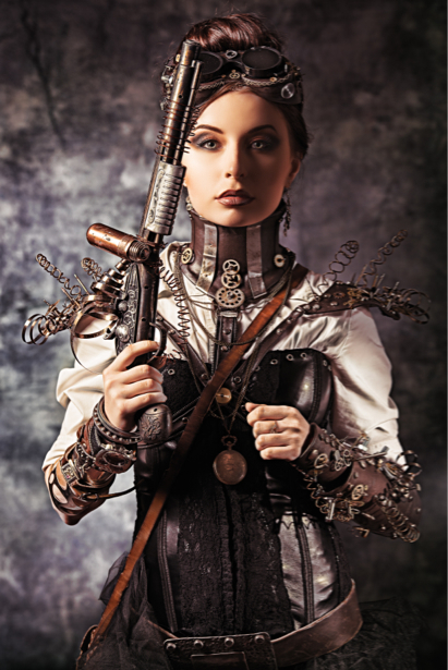 Фотообои стимпанк портрет с оружием (glamour-0000209)
