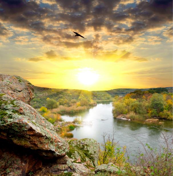 Фотообои вид природы горы река закат (nature-00181)