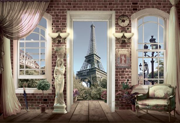 Фотообои Вид из окна Париж (printmaking-0000044)