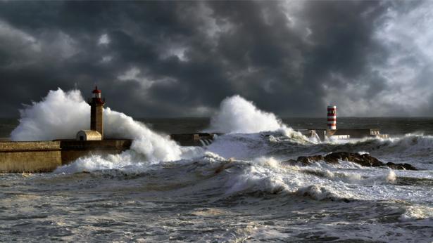 Фотообои штормовое море и маяк (sea-0000234)