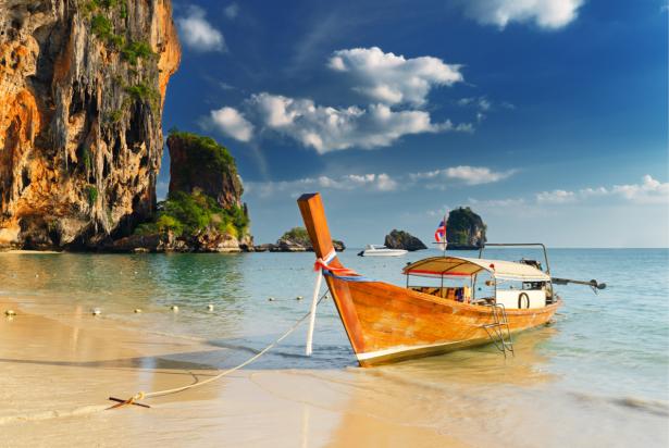 Фотообои лодка на пляже в Таиланде (sea-0000375)