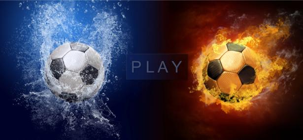 Фотообои мяч футбол огонь и вода (sport-0000026)