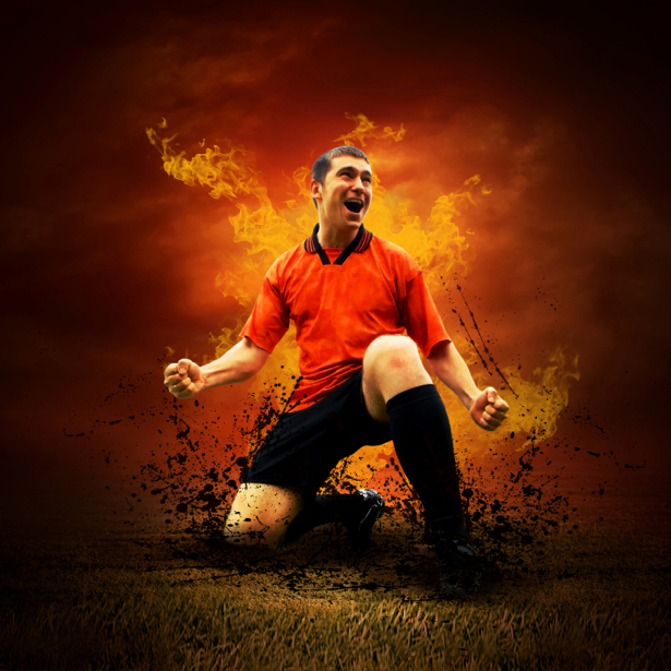 Фотообои футболист в огне (sport-0000045)