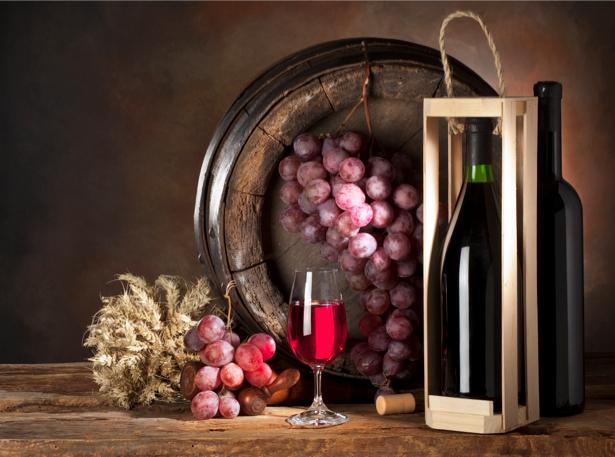 Фотообои виноград с вином натюрморт (still-life-0038)