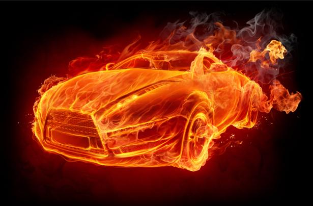 Фотообои спорт-кар в огненном ореале (transport-0000010)