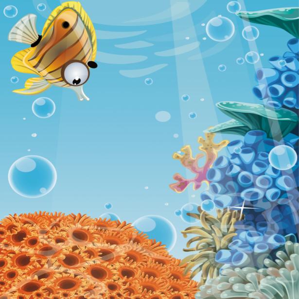 Фотообои для ванны рисунок рыбки (underwater-world-00185)