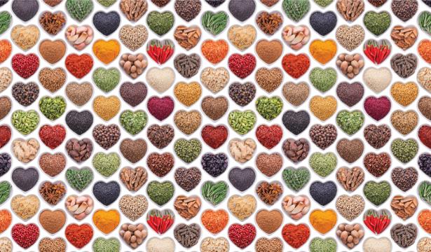 Скатерть со специями сердечки (0065)