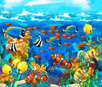 Фотошторы морской мир (bathroom-curtain-00007)