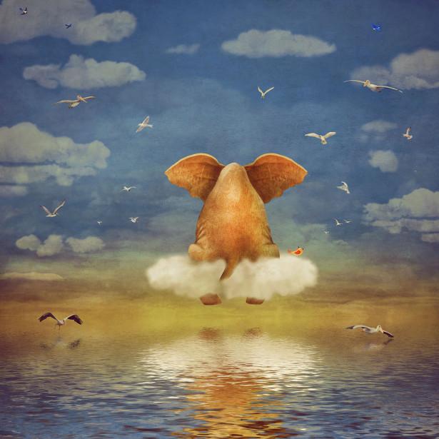 Фотообои Слоненок на облачке (child-448)