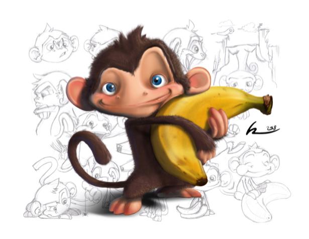 Детские фотообои Обезьянка с бананом (children-0000099)