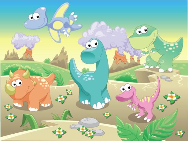 Фотообои детские - Динозаврики (children-0000266)