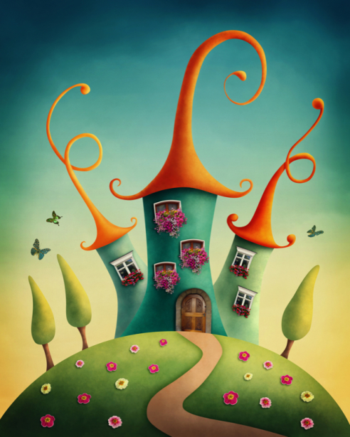 Сказочный домик фотообои для девочек (children-0000389)