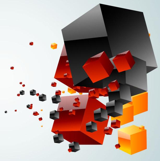 Фотообои в офис кубики в стиле хай-тек (commercial-00014)