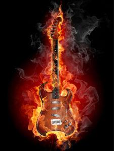 Фотообои гитара в огне (fantasy-0000002)