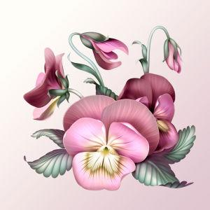 Фотообои Винтажные анютины глазки (flowers-753)