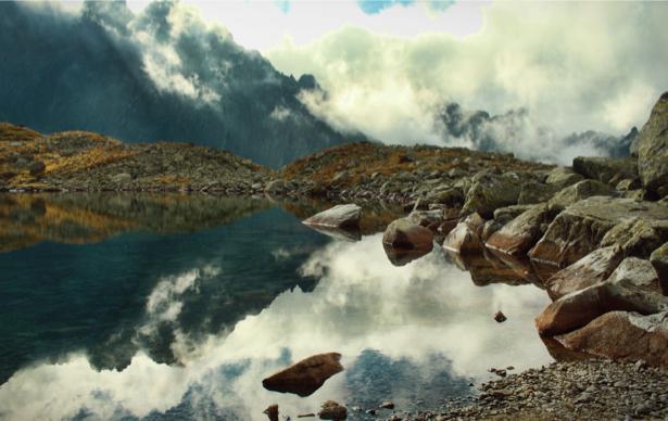 Фотообои отражение горы озеро (nature-00479)
