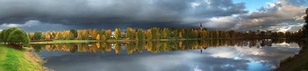 Фотообои панорама дереьев с отражением в воде (panorama_0000039)