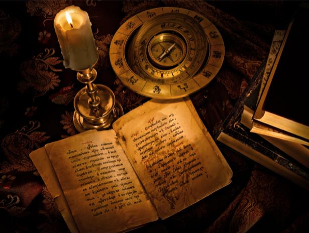 Фотообои свеча и книга (retro-vintage-0000038)