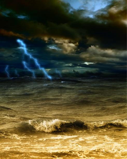 Фотообои море волны гроза и молния (sea-0000246)