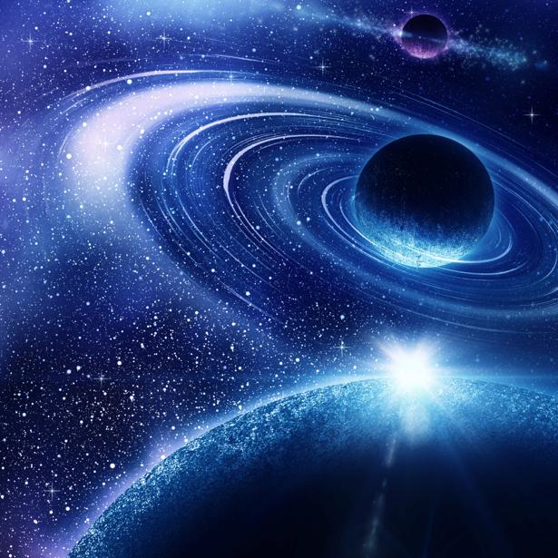 Фотообои звездное синее небо (space-0000023)
