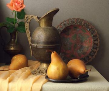 Фотообои натюрморт с медным кувшином (still-life-0085)
