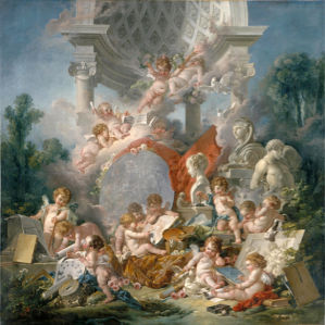 Картина Амуры ангелочки обои рококо (angel-00031)