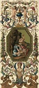 Фреска обои орнамент барокко композиция (angel-00053)