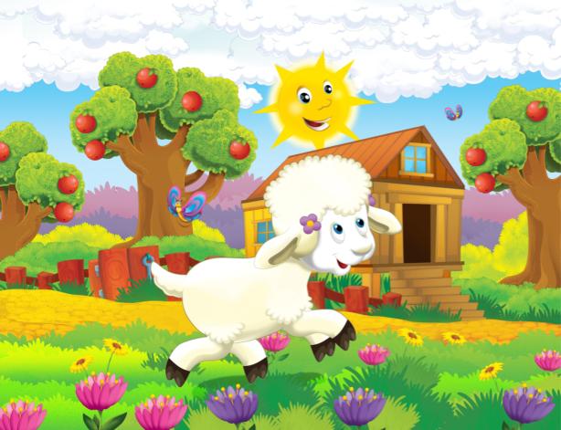 Детские фотообои веселая овечка (children-0000370)