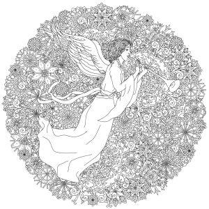 Обои раскраска Рождественский ангел (color-7)